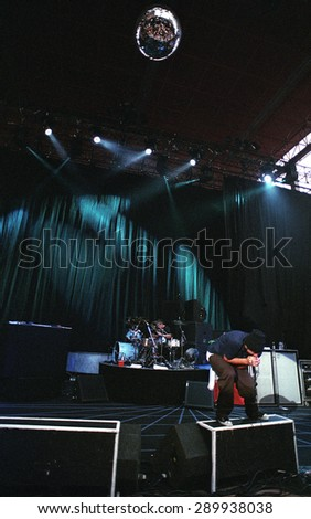 DENVERJULY 25:Chino Moreno July 25, 2001 at Red Rocks Amphitheater in Denver, CO. - stock photo