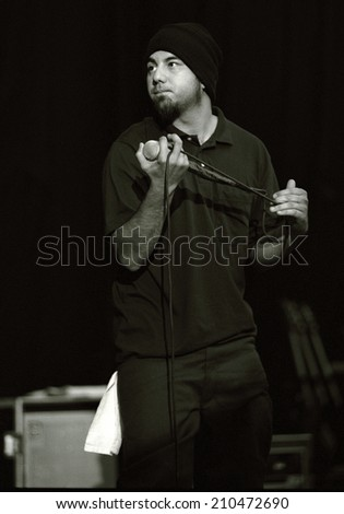DENVER - JULY 25:		Vocalist Chino Moreno of the Heavy metal band the Def Tones performs in concert July 25, 2001 at Red Rocks Amphitheater in Denver, CO.