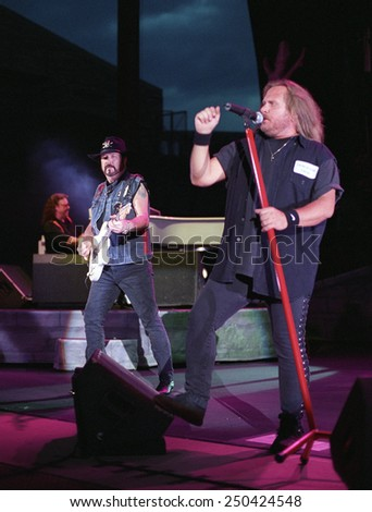 DENVERJULY 02:Vocalist Johnny Van Zant of the Southern Rock Band Lynyrd Skynyrd performs in concert July 24, 2002 at Red Rocks Amphitheater in Denver, CO.  - stock photo
