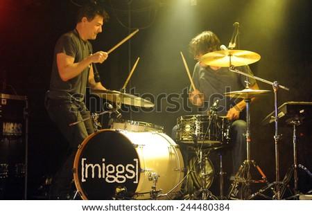 DENVERJUNE 26:Rock band Miggs performs in concert June 26, 2014 at the venue Eck's  in Denver, CO. - stock photo