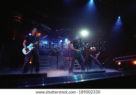 DENVER	MAY 14:	Heavy Metal band Nickelback performs in concert May 14, 2002 at the The Fillmore in Denver, CO.