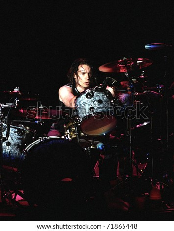 DENVER- MAY 6:Robin Goodridge, drummer of the alternative rock band Bush, performs in concert May 6, 2000 at Red Rocks Amphitheater in Denver, CO.