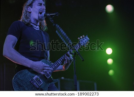 DENVER	MAY 14: Vocalist/Guitarist Chad Kroeger of the Heavy Metal band Nickelback performs in concert May 14, 2002 at the The Fillmore in Denver, CO.