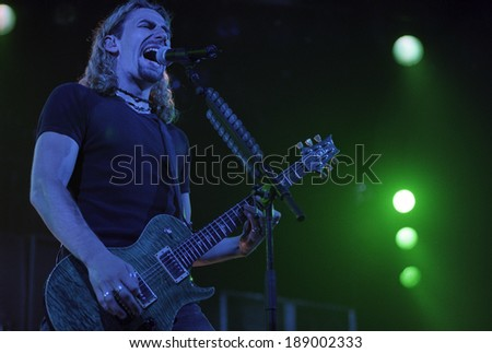 DENVER	MAY 14:Vocalist/Guitarist Chad Kroeger of the Heavy Metal band Nickelback performs in concert May 14, 2002 at the The Fillmore in Denver, CO.