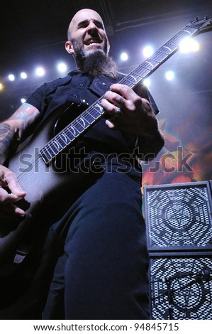 DENVER-OCTOBER 19: Guitarist Scott Ian of the Heavy Metal band Anthrax performs in concert October 19, 2011 at the Summit Music Hall in Denver, CO.