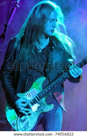 DENVER - OCTOBER 4: Guitarist/Vocalist Jerry Cantrell of the Heavy Metal band Alice in Chains performs in concert October 4, 2010 at Red Rocks Amphitheater in Denver, CO.