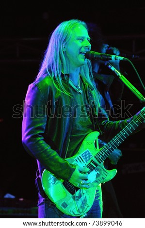 DENVER-OCTOBER 4:Guitarist/Vocalist Jerry Cantrell of the Heavy Metal band Alice in Chains performs in concert October 4, 2010 at Red Rocks Amphitheater in Denver, CO.