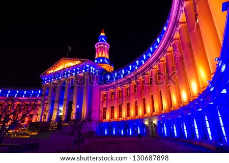 Denver's City and County building decorated for the Denver Broncos game.