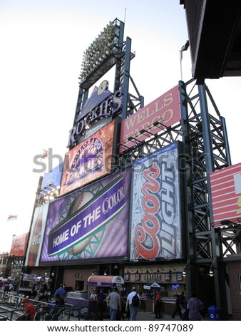 DENVER - SEPTEMBER 30: Giant scoreboard at Coors Field, home of the Rockies, on September 30, 2009 in Denver, Colorado. Opened in 1995, the stadium seats 50,490 fans and cost $300 million. - stock photo