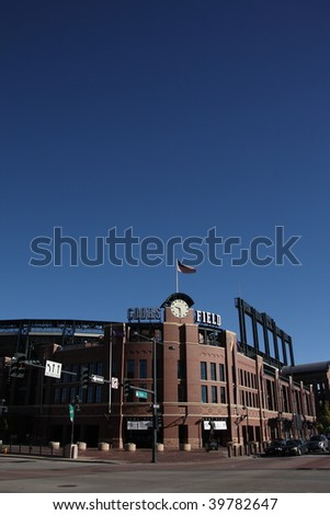 DENVER - SEPTEMBER 30: Overall view of Coors Field, home ballpark of the playoff bound Colorado Rockies before a late season baseball game September 30, 2009 in Denver. - stock photo