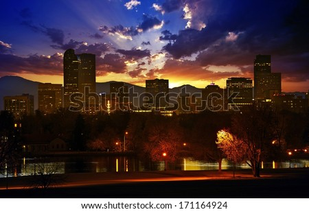 Denver Skyline at Sunset. Colorful Beautiful Sunset in Denver Colorado, United States. Downtown Denver. Colorado Photo Collection. - stock photo