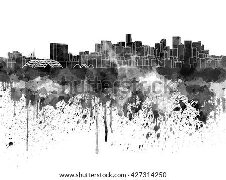 Denver skyline in black watercolor - stock photo