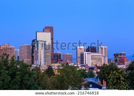 Denver skyline long exposure at twilight.