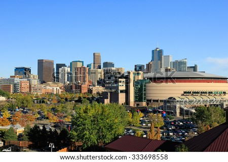 DENVER, USA - OCTOBER, 19: Skyline of Denver on October 19, 2013  in Colorado, USA.  Denver is the most populous city in Colorado.
