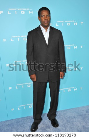 "Denzel Washington at the Los Angeles premiere of his new movie ""Flight"" at the Cinerama Dome, Hollywood. October 23, 2012  Los Angeles, CA - stock photo"