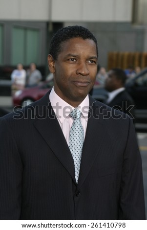 "Denzel Washington at the Los Angeles premiere of ""The Manchurian Candidate"" held at the AMPAS in Beverly Hills, California United States on July 22, 2004. - stock photo"