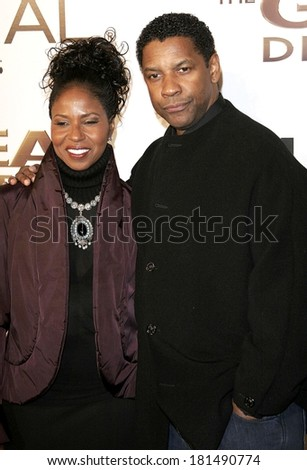 Denzel Washington, wife at THE GREAT DEBATERS Premiere, ArcLight Cinerama Dome, Los Angeles, CA, December 11, 2007 - stock photo