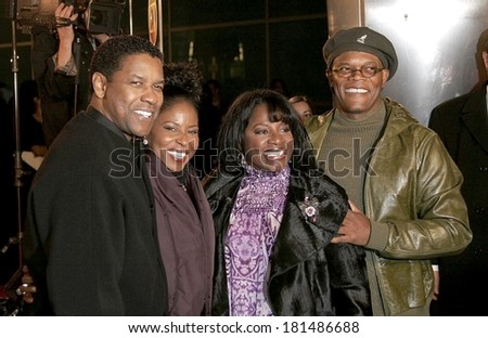 Denzel Washington, wife, wife, Samuel Jackson at THE GREAT DEBATERS Premiere, ArcLight Cinerama Dome, Los Angeles, CA, December 11, 2007 - stock photo