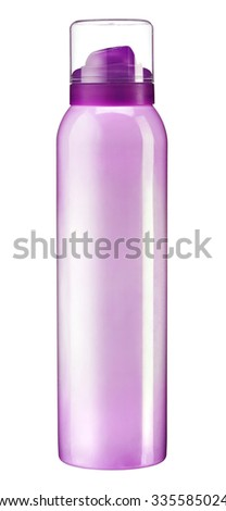 Deodorant spray for woman / studio photography of lilac metal bottle - isolated on white background - stock photo