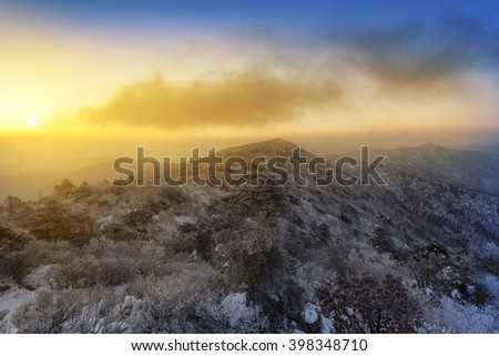 Deogyusan mountain,landscape in winter and beautiful sunrise