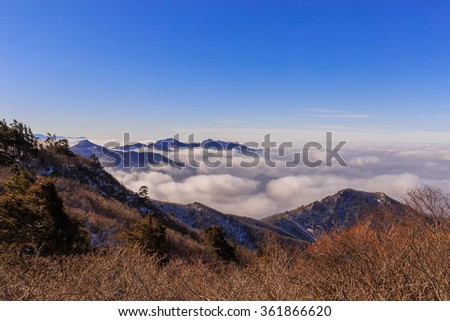 Deogyusan mountains and fog in winter,South Korea.