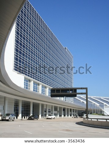 Departure area of airport - stock photo