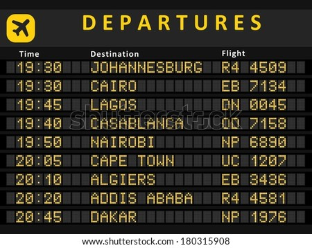 Departure board - destination airports. Busiest airports in Africa: Johannesburg, Cairo, Lagos, Cape Town, Nairobi, Casablanca, Algiers, Addis Ababa and Rabat. - stock photo