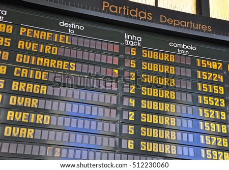 Departure board in portugese language