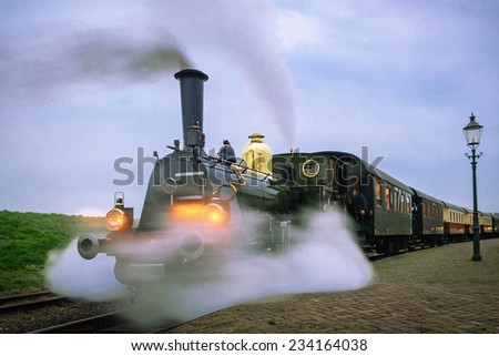 Departure evening steam train from Medemblik to Hoorn, Netherlands - stock photo