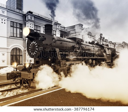 Departure of the retro steam train at spring evening time. - stock photo