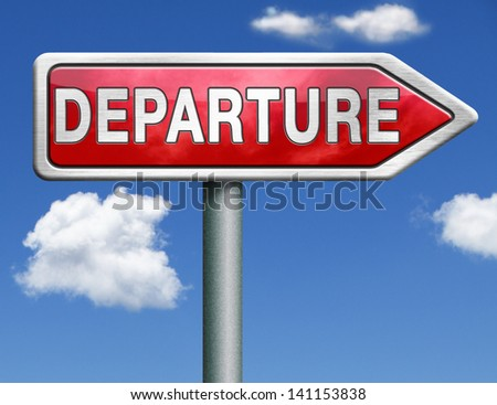 departure road sign arrow starting point of a journey depart departure icon departure button flight schedule arrow travel schedule red road sign arrow with text and word concept - stock photo