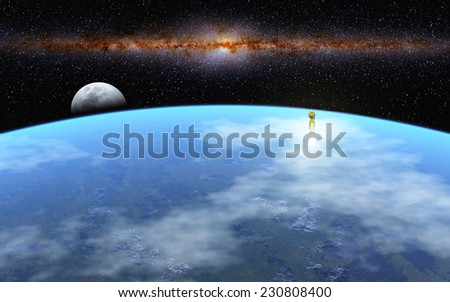 """Departure to Moon - """"Elements of this image furnished by NASA"""" - stock photo"""