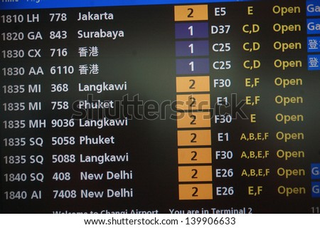 departures board at Singapore's Changi International Airport