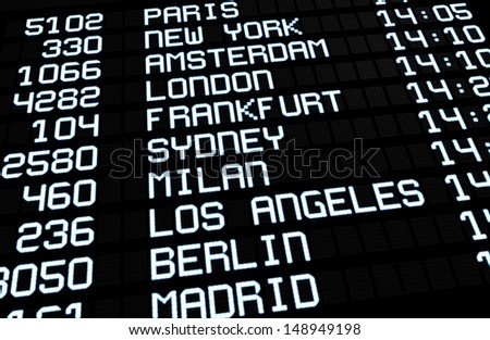 Departures display at airport terminal showing on board international destinations flights to some of the world's most popular travel cities. Business or leisure travel concept, 3d rendering. - stock photo