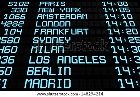 Departures display board at airport terminal showing international destinations flights to some of the world's most popular cities. Business or leisure travel concept, 3d rendering. - stock photo