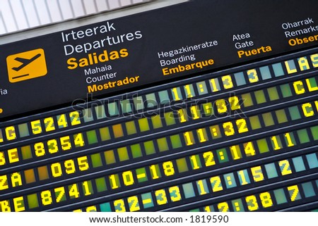 Departures information board at airport