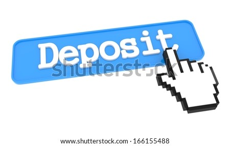 Deposit Button with Hand Cursor. Business Concept. - stock photo