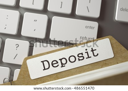 Deposit written on  Archive Bookmarks of Card Index on Background of White Modern Computer Keypad. Business Concept. Closeup View. Toned Blurred  Illustration. 3D Rendering.