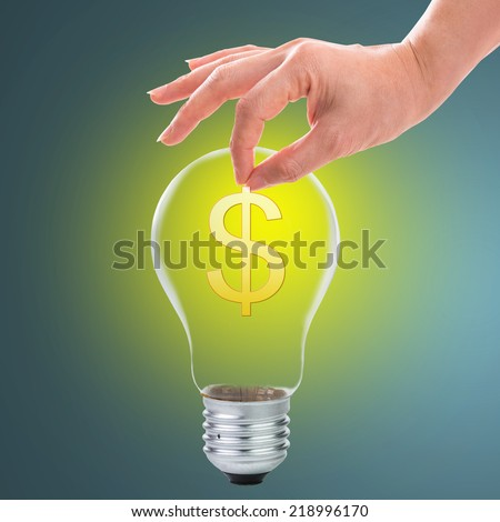Deposit your idea for money with your hand concept - stock photo