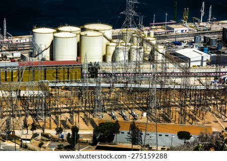 deposits of a refinery and power - stock photo
