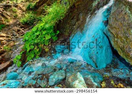 Deposits of woodwardite in source waters - Saint Marcel - Aosta Valley - north Italy - stock photo