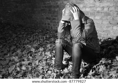 depressed a teenager facing her own problems. - stock photo