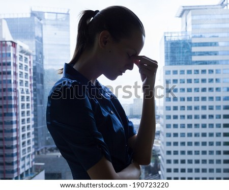 Depressed business woman. - stock photo