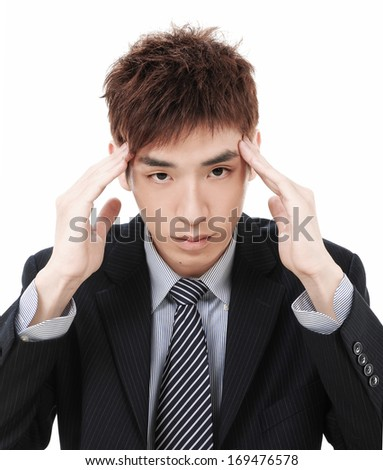 Depressed businessman on white background  - stock photo