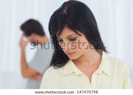 Depressed couple has dispute and are not talking - stock photo