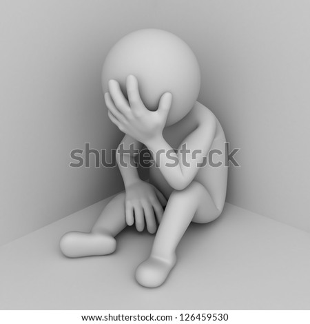 Depressed 3d man sitting in corner of room - stock photo