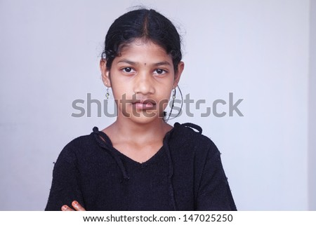 Depressed Indian Teenage Girl - stock photo