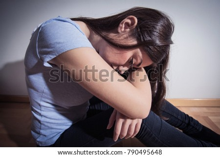 Depressed lonely unhappy young woman , female suffering from depression