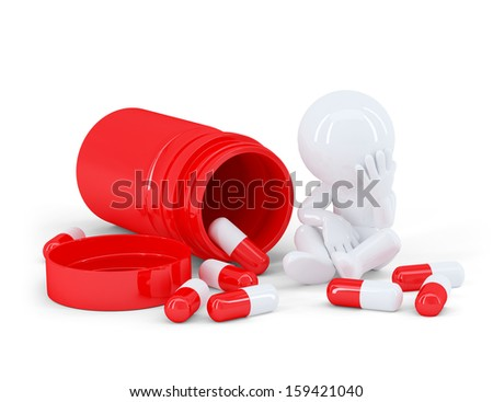 Depressed man taking pills. Isolated on white background - stock photo