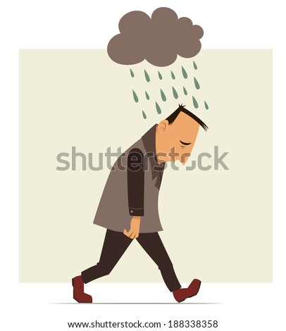 depressed man walking with a cloud of rain over his head - stock photo
